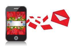Mobile Phone with New Year background sends messag. Es in the form of red envelopes Stock Images