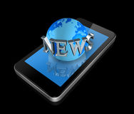 Mobile phone and news world globe Royalty Free Stock Photo