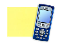 Mobile phone and note paper Stock Photo
