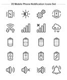 Mobile Phone Notification icons set, Line Thickness icons Stock Images