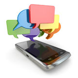 Mobile phone and ocial media speech bubbles. Stock Image