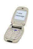 Mobile phone with ONE NEW MESSAGE text Royalty Free Stock Photos
