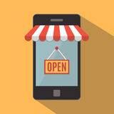Mobile phone. Online store concept Stock Photos
