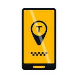 Mobile phone online taxi icon vector. Royalty Free Stock Photo