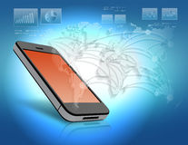 Mobile phone with orange screen and world map. Royalty Free Stock Photography