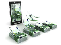 Mobile phone payment. Phone and Euro. 3D render Stock Images