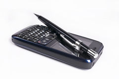 Mobile phone and pen Stock Photos
