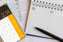 Mobile phone, pen and calendar Royalty Free Stock Image