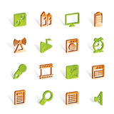 Mobile phone performance, internet and office icon Stock Photos