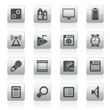 Mobile phone  performance, internet and office icons Stock Image