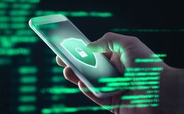 Mobile phone personal data and cyber security threat concept. Cellphone fraud. Smartphone hacked with illegal spyware.