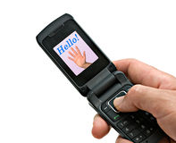 Mobile phone with picture of high-five and word Stock Photography