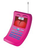 Mobile phone. Pink mobile phone laughing and showing tongue Stock Images