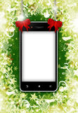 Mobile phone with place for text with christmas background Stock Image