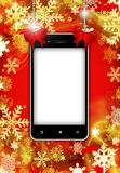 Mobile phone with place for text with christmas background Royalty Free Stock Image