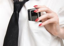 Mobile phone in a pocket Stock Image