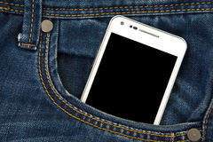 Mobile phone in pocket with black screen Royalty Free Stock Image