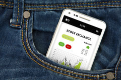 Mobile phone in pocket with stock exchange screen Stock Photo