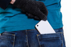 Mobile phone in a pocket Royalty Free Stock Image