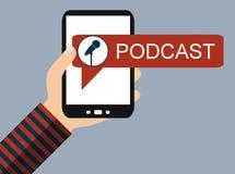 Mobile Phone: Podcast - Flat Design. Hand holding Smartphone with Microphone icon: Podcast - Flat Design royalty free illustration