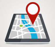 Mobile phone with pointer on screen, gps concept in flat style Stock Photography