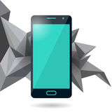 Mobile phone with polygonal background Royalty Free Stock Image
