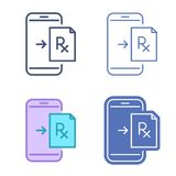 Mobile phone with prescription symbol. Telemedicine vector outline icon set. Mobile phone with prescription symbol. Rx document on the smartphone screen. Vector stock illustration