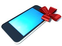 Mobile phone present with red ribbon on white Stock Image