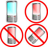 Mobile phone prohibition sign. Over white background Stock Photo