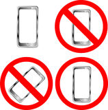 Mobile phone prohibition signs. Isolated on white background Royalty Free Stock Image