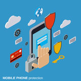 Mobile phone protection, computer security, data protection vector concept Royalty Free Stock Photo