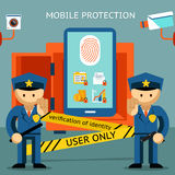 Mobile phone protection. Financial security and. Protect your cell phone, fingerprint, only to owner. Financial security and data confidentiality Royalty Free Stock Photography
