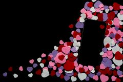Mobile phone with coloured felt hearts on a black background - texting, chatting, valentines, love Royalty Free Stock Photography