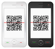 Mobile phone and QR bar code Stock Photo