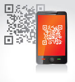 Mobile phone with qr code Royalty Free Stock Photo
