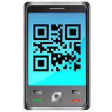Mobile phone with qr code Stock Image