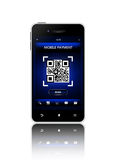 Mobile phone with qr code screen isolated over white Stock Image