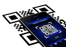 Mobile phone with qr code screen isolated over white Stock Photography