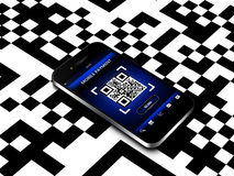 Mobile phone with qr code screen Royalty Free Stock Photos