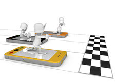 Mobile phone race. Phone career-driven 3D character reaching the goal, a metaphor for success Royalty Free Stock Photography