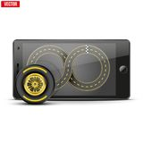 Mobile phone with racing wheel and track on the Stock Images