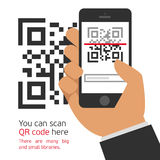 Mobile phone reads the QR code. Stock Photos