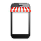 Mobile Phone with Red Awning Royalty Free Stock Images