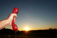 Mobile Phone. Red phone in landscape. See my other works in portfolio stock image
