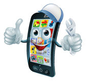 Mobile phone repair character. With wrench or spanner giving thumbs up Royalty Free Stock Image