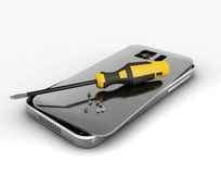 Mobile phone repair. 3D illustration. Broken mobile phone with screwdriver. Repair electronic equipment. Royalty Free Stock Image