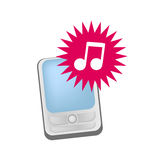 Mobile phone ringtones vector. Vector illustration of a mobile phone with ring tone symbol as musical note, related to ring tones commercials and mobile phone Stock Image