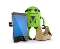 Mobile phone with robot Royalty Free Stock Photography