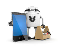 Mobile phone with robot Stock Images