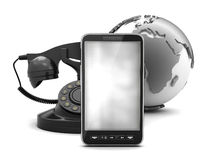 Mobile phone, rotary phone and earth globe Royalty Free Stock Photography